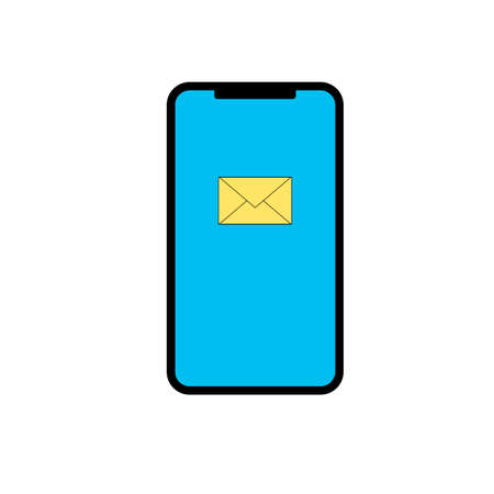 Simple icon of modern actual smartphone with email sign on display. Vector illustration eps 10