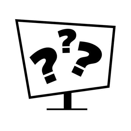 minimalistic icon of computer display with question marks