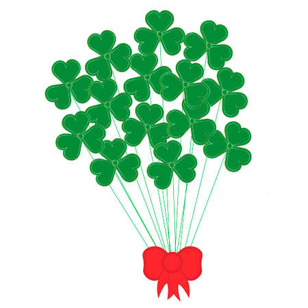 St. Patricks Day icon symbol: Green and gold colored bunch of a lot of clovers leafs with bow isolated on white background. Vector EPS10 illustration