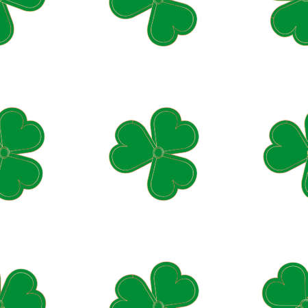 Traditional St. Patrick 's Day icons seamless pattern background: Green and gold colored clover leafs (shamrock). Vector EPS 10 illustration. Ilustração