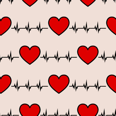 Cardiology heartbeat rhythm ecg seamless icon pattern.Eps vector illustration