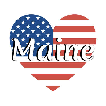 Heart shaped national flag of The United States of America with inscription of state name: Maine in modern style. Vector EPS10 illustration.  イラスト・ベクター素材