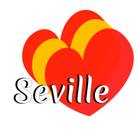 Three heart shape elements with colors of  national flag of Spain (Europe) with inscription of city name: Seville in modern style.  Simple logo for souvenirs, t-shirts. Vector EPS10 illustration.