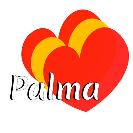 Three heart shape elements with colors of  national flag of Spain (Europe) with inscription of city name: Palma in modern style. Simple logo for souvenirs, t-shirts. Vector EPS10 illustration.