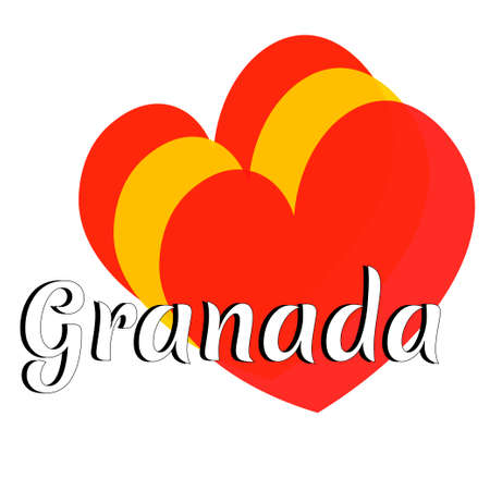 Three heart shape elements with colors of  national flag of Spain (Europe) with inscription of city name: Granada in modern style. Simple logo for souvenirs, t-shirts. Vector EPS10 illustration.