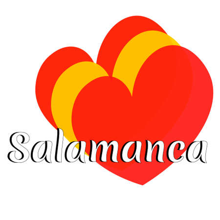 Three heart shape elements with colors of  national flag of Spain (Europe) with inscription of city name: Salamanca in modern style. Simple logo for souvenirs, t-shirts. Vector EPS10 illustration.