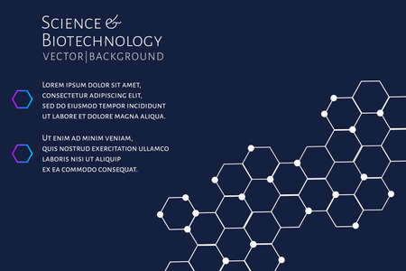 Modern background with hexagons, chemical bonds, molecules pattern. Medicine, science, biotechnology, pharmacology innovation concept. Place for text. Dark backdrop. Vector EPS 10 illustration.
