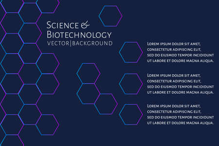 Modern background with hexagons, chemical bonds, molecules pattern. Medicine, science, biotechnology, pharmacology innovation concept. Place for text. Dark backdrop. Vector EPS 10 illustration. Illustration