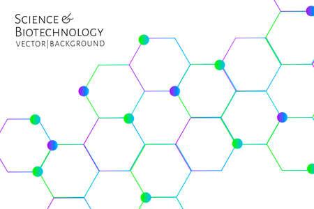 Fondo moderno con hexágonos, enlaces químicos, patrón de moléculas. Medicina, ciencia, biotecnología, concepto de innovación farmacológica. Lugar para el texto. Telón de fondo blanco. Ilustración vectorial EPS 10.