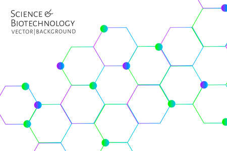 Modern background with hexagons, chemical bonds, molecules pattern. Medicine, science, biotechnology, pharmacology innovation concept. Place for text. White backdrop. Vector EPS 10 illustration.