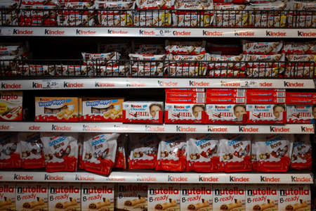 shelf with different Kinder products in the supermarket in Barcelona, Catalonia, Spain 30 April, 2019