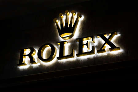 store signboard rolex with brand logo. Shop of premium luxury clock in Barcelona, Catalonia, Spain. 2019-05-01 Editorial