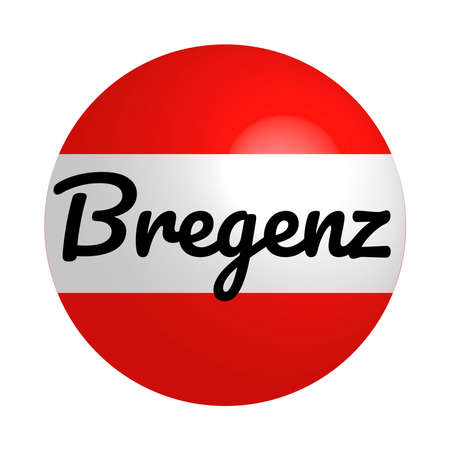 Round button Icon of national flag of Austria with inscription of city name: Bregenz in modern style and reflection of light. Vector EPS10 illustration.