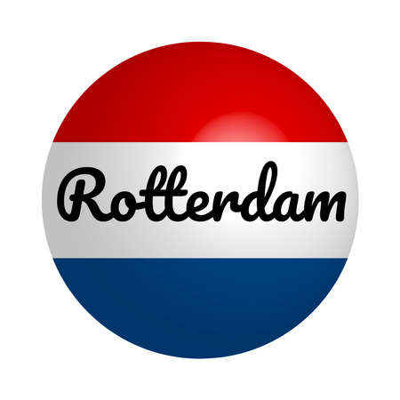 Round button Icon of national flag of Netherlands with inscription of city name: Rotterdam in modern style and reflection of light. Vector EPS10 illustration.