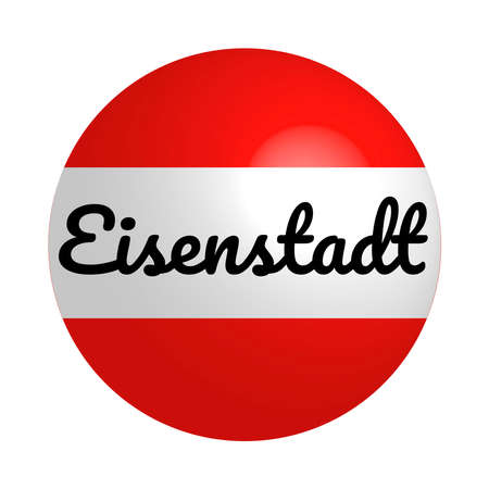 Round button Icon of national flag of Austria with inscription of city name: Eisenstadt in modern style and reflection of light. Vector EPS10 illustration.