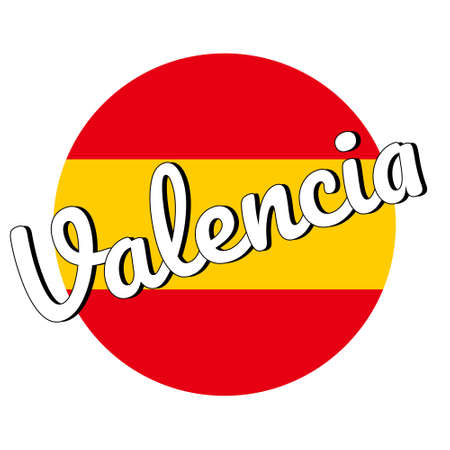 Round button Icon of national flag of Spain with red and yellow colors and inscription of city name: Valencia in modern style. Vector EPS10 illustration. Иллюстрация