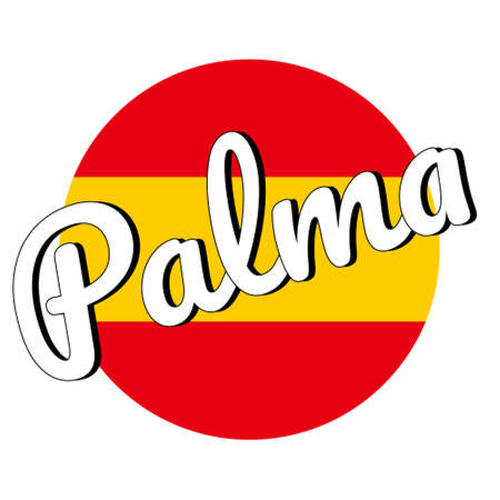 Round button Icon of national flag of Spain with red and yellow colors and inscription of city name: Palma in modern style. Vector EPS10 illustration. Vettoriali