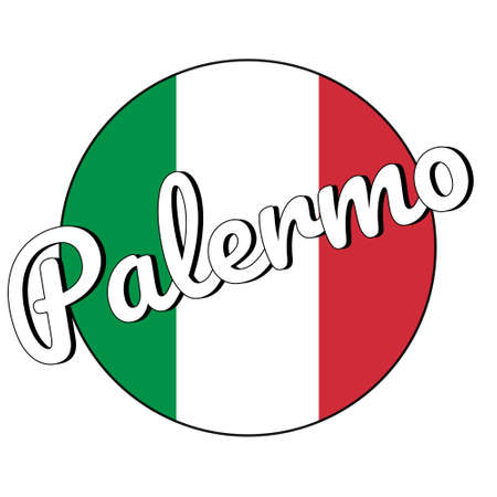 Round button Icon of national flag of Italy with red, white and green colors and inscription of city name: Palermo in modern style. Vector EPS10 illustration.