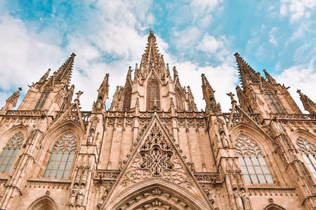 The Cathedral of the Holy Cross and Saint Eulalia. Gothic cathedral and seat of the Archbishop of Barcelona, Catalonia, Spain. One of the most famous sights of Barcelona. Photo with beautiful toning