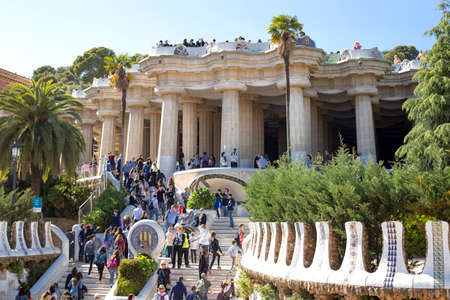 A large group of tourists in the Park Guell, one of the most famous sights in Barcelona, Catalonia, Spain 2019-05-01 Editorial