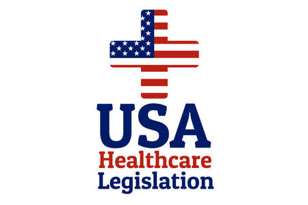 National flag of The United States of America in the shape of a medical cross in circle and Inscription USA healthcare legislation. Care of health and medicine concept. For logo, banner, background.