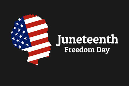 Juneteenth Freedom, Emancipation, Independence Day. June 19. African-American girl silhouette with national flag of United States of America.