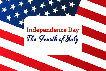 National flag of The United States of America with red stripes and white stars and inscription: Independence Day, the Fourth of July in modern style with patriotic colors. Vector EPS10 illustration 向量圖像