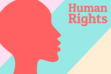 Human rights concept background. Silhouette of female head. Equality and feminism. Poster against discrimination