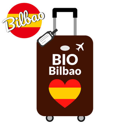 Luggage with airport station code IATA or location identifier and destination city name Bilbao, BIO. Travel to Spain, Europe concept. Heart shaped flag of the Spain on baggage.