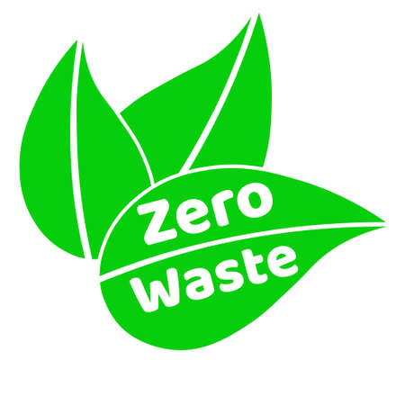 Zero waste lettering text sign with green leaves. Waste management concept. Reduce, reuse, recycle and refuse. Eco lifestyle.