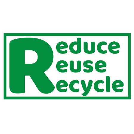 The Three R s of Zero waste lettering text sign. Waste management concept. Reduce, reuse, recycle and refuse. Eco lifestyle.