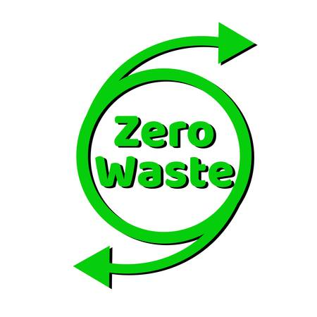 Zero waste lettering text sign. Waste management concept. Reduce, reuse, recycle and refuse. Eco lifestyle.