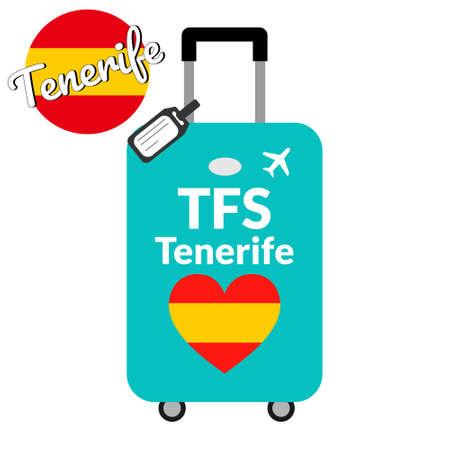 Bagages avec code de gare aéroportuaire IATA ou identifiant de localisation et nom de la ville de destination Tenerife, TFS. Voyage en Espagne, concept européen. Drapeau en forme de coeur de l'Espagne sur les bagages.