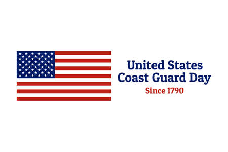 Coast Guard Day holiday background with national flag of the United States of America. Annual celebrated every August 4. For banner, card, poster. Stock Vector - 127037783