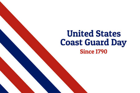 Coast Guard Day holiday background with national flag of the United States of America. Annual celebrated every August 4. For banner, card, poster. Stock Vector - 127037786