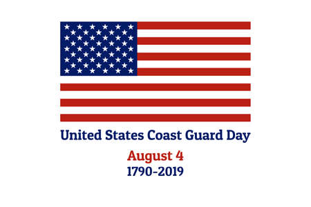 Coast Guard Day holiday background with national flag of the United States of America. Annual celebrated every August 4. For banner, card, poster. Illustration