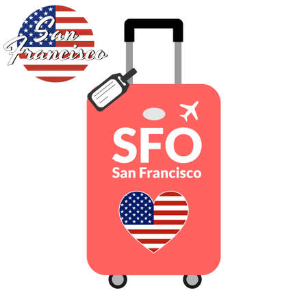 Luggage with airport station code IATA or location identifier and destination city name San Francisco, SFO. Travel to the United States of America concept. Heart shaped flag of the USA on the baggage Stock Vector - 127037785