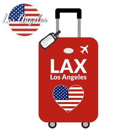 Luggage with airport station code IATA or location identifier and destination city name Los Angeles, LAX. Travel to the United States of America concept. Heart shaped flag of the USA on the baggage. Stock Vector - 127037784