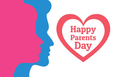 Parents Day - Annual holiday that celebrated on the Fourth Sunday in July in USA. Festive background with male and female silhouettes for banner, card, poster, template. Heart with title.