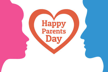 Parents Day - Annual holiday that celebrated on the Fourth Sunday in July in USA. Festive background with male and female silhouettes for banner, card, poster, template. Heart with title. Stock Vector - 127037787