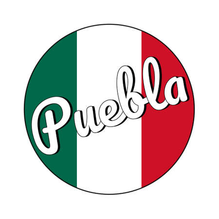 Round button Icon of national flag of Mexico with green, white and red colors and inscription of city name Puebla in modern style.