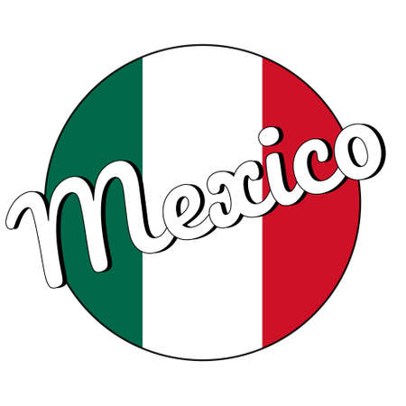 Round button Icon of national flag of Mexico with green, white and red colors and inscription of city name Mexico in modern style.