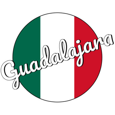 Round button Icon of national flag of Mexico with green, white and red colors and inscription of city name Guadalajara in modern style.