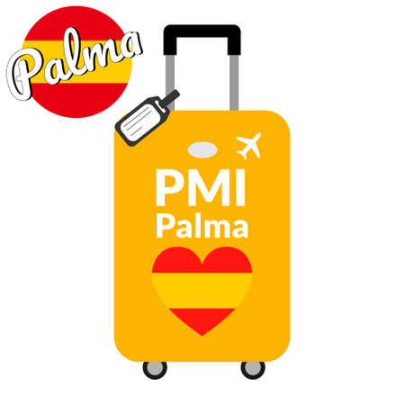 Bagages avec code de gare aéroportuaire IATA ou identifiant de localisation et nom de la ville de destination Palma, PMI. Voyage en Espagne, concept de l'Europe. Drapeau en forme de coeur de l'Espagne sur les bagages