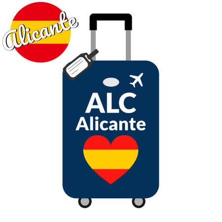 Luggage with airport station code IATA or location identifier and destination city name Alicante, ALC. Travel to Spain, Europe concept. Heart shaped flag of the Spain on baggage.