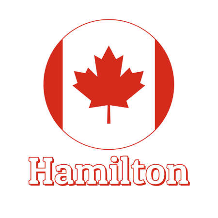 Round button Icon of national flag of Canada with red maple leaf on the white background and lettering of city name Hamilton. Illustration