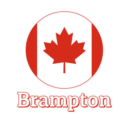 Round button Icon of national flag of Canada with red maple leaf on the white background and lettering of city name Brampton.