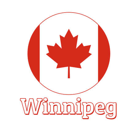 Round button Icon of national flag of Canada with red maple leaf on the white background and lettering of city name Winnipeg.