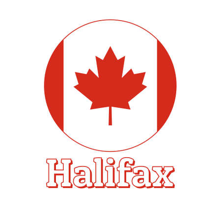 Round button Icon of national flag of Canada with red maple leaf on the white background and lettering of city name Halifax.