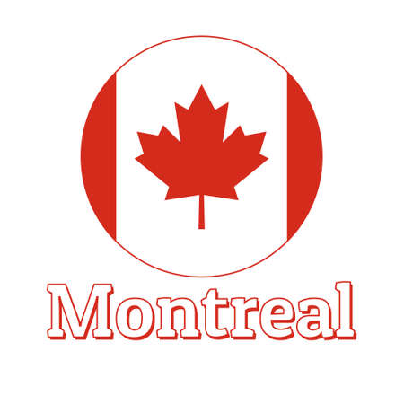 Round button Icon of national flag of Canada with red maple leaf on the white background and lettering of city name Montreal.